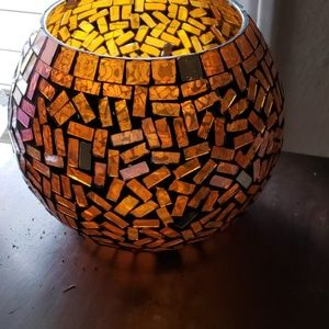 Amber Mosaic glass bowl or candel holder